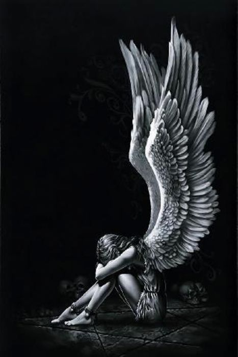 angel girl wings fantasy alone light black white wallpaper