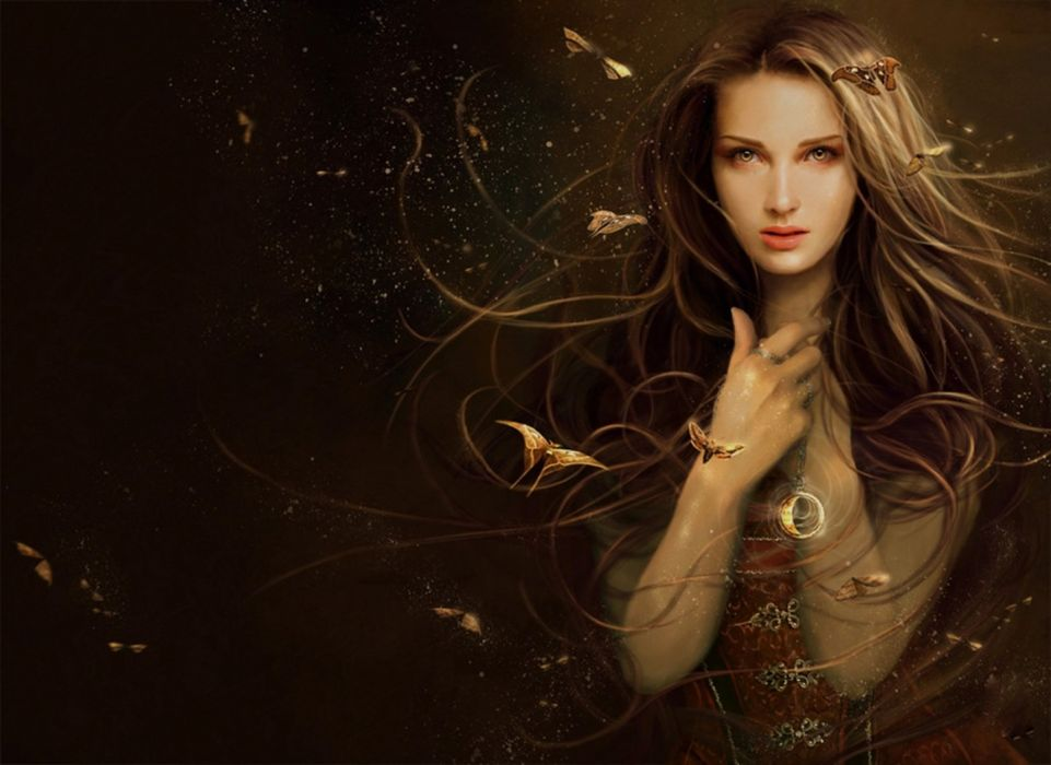 brown hair fantasy girl butterfly magic eyes wallpaper