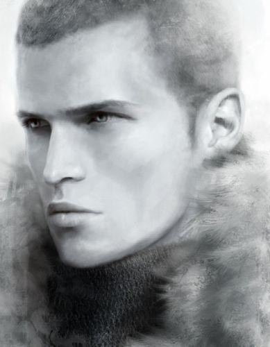 fantasy male art painting blue eyes wallpaper