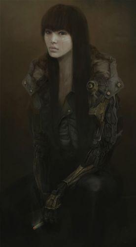 machine arm fantasy girl smoking long hair wallpaper