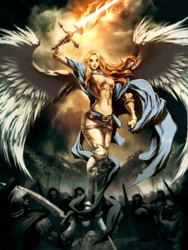 angel fantasy wings war sword wallpaper