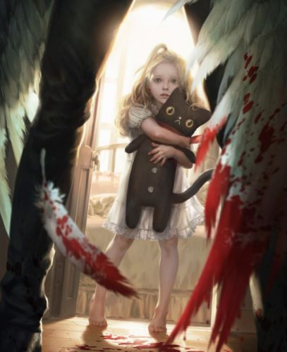 blood children fantasy feather wings wallpaper