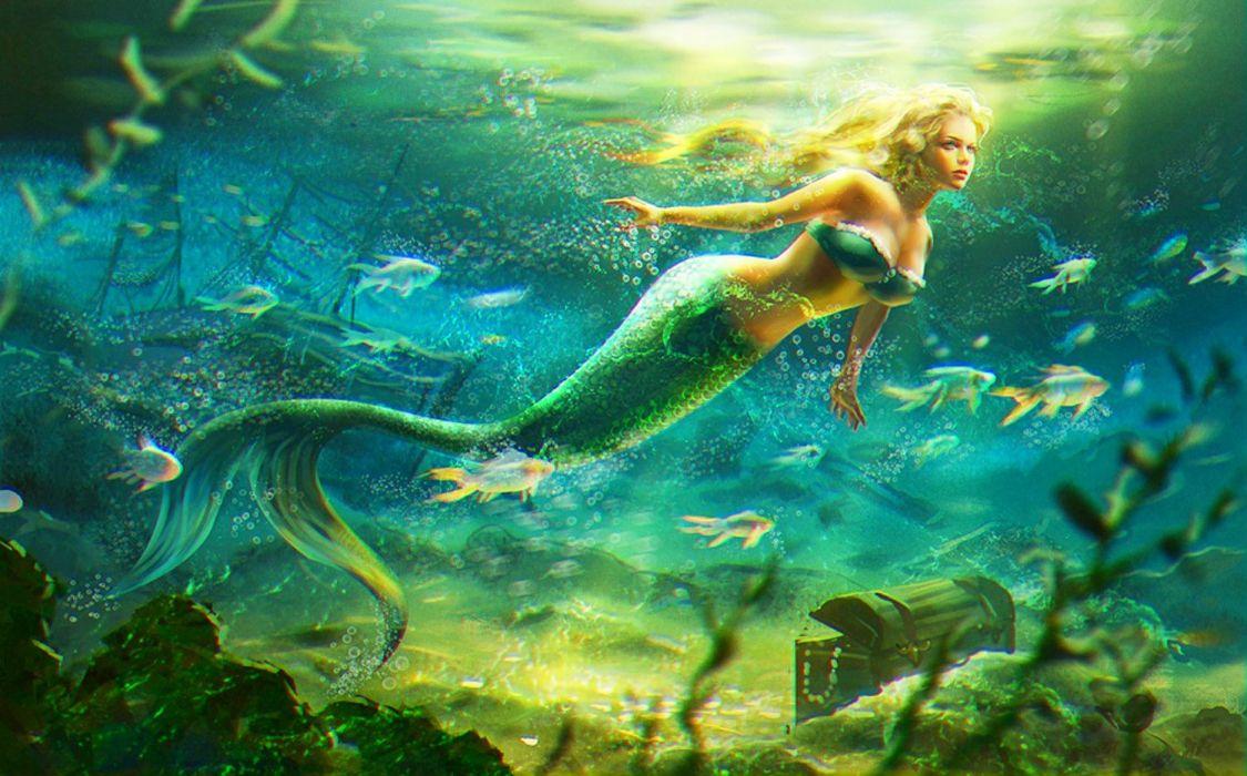 Mermaid-fantasy-water fish sea wallpaper