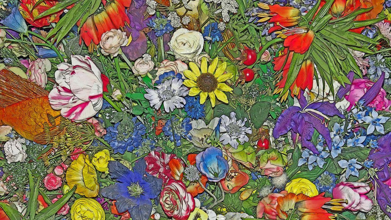 artistic flower composition wallpaper