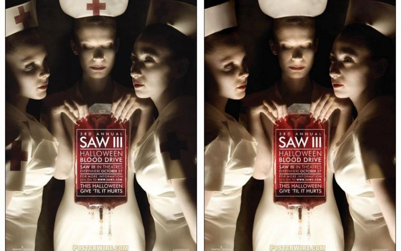 SAW horror dark thriller evil 1saw poster sexy babe fetish cosplay fetish wallpaper