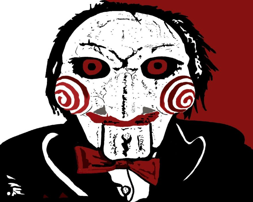 SAW horror dark thriller evil 1saw mask clown psychedelic wallpaper
