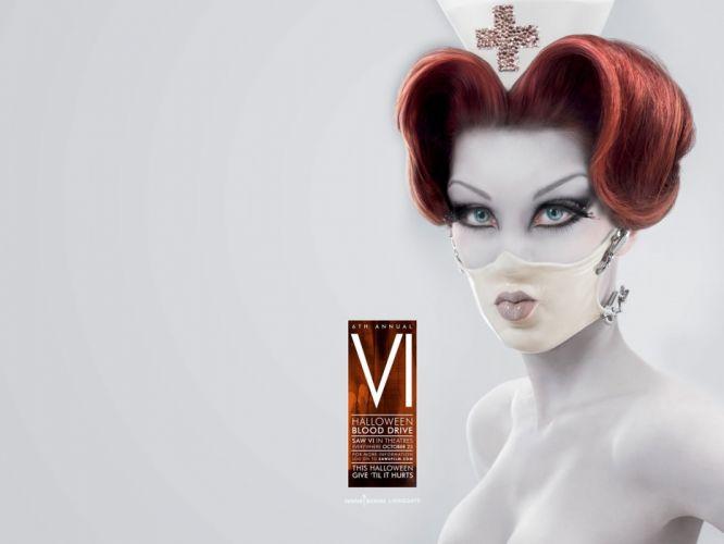 SAW horror dark thriller evil 1saw poster cosplay fetish blood nurse sexy babe mask wallpaper