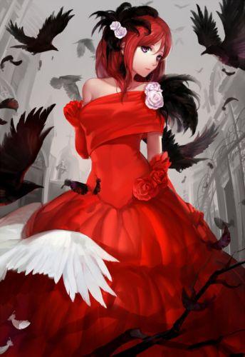 anime girl bird red dress rose wallpaper