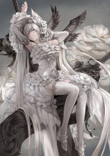 anime girl flower rose white wallpaper