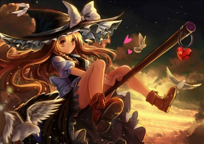 witch anime girl magic bird sky cloud fly wallpaper