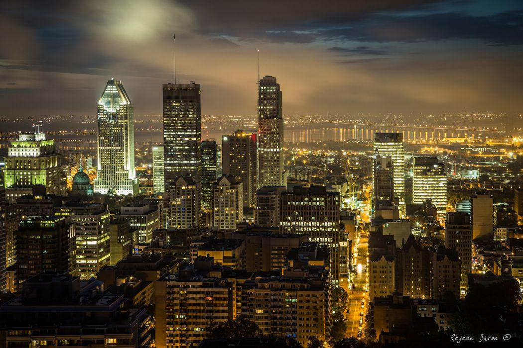 building Canada Montreal quebec night light cities monuments  wallpaper