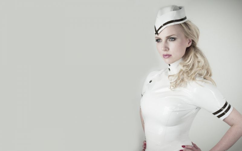 SENSUALITY - blonde girl stewardess wallpaper