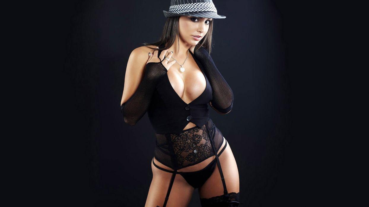SENSUALITY - girl brunette lingerie hat wallpaper