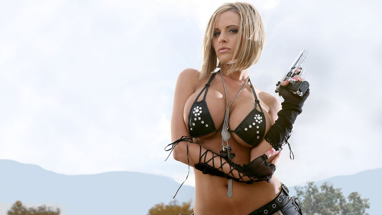 WOMEN AND GUNS - blonde girl bikini pistol wallpaper