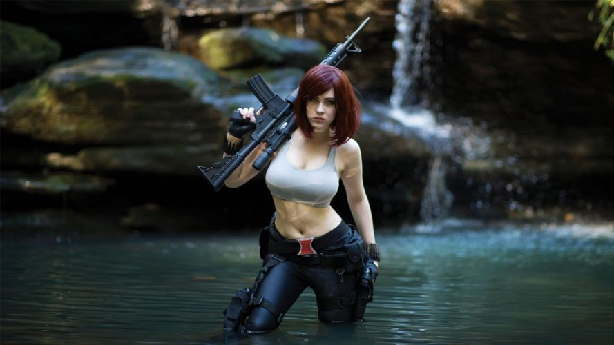 WOMEN AND GUNS - redhead girl coxplay machinegun lake wallpaper