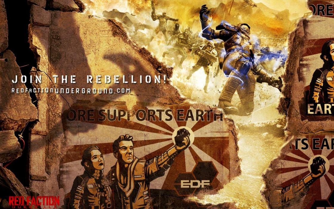 RED FACTION fps shooter action fighting warrior weapon gun combat battle 1redfaction sci-fi poster wallpaper