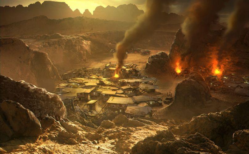RED FACTION fps shooter action fighting warrior weapon gun combat battle 1redfaction sci-fi fantasy city cities wallpaper