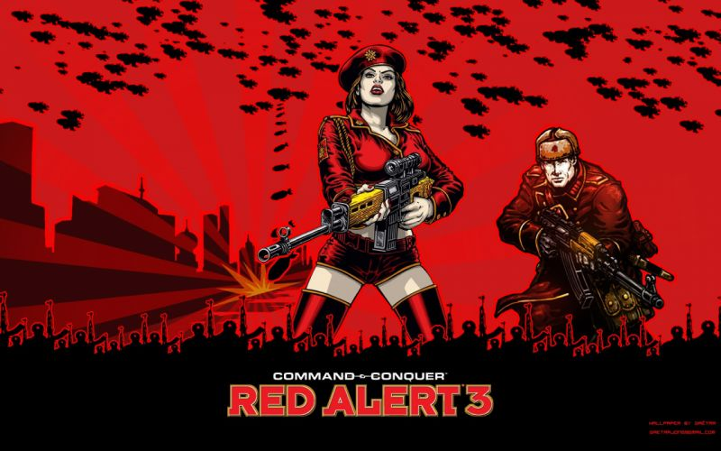RED ALERT Command Conquer action military sci-fi futuristic strategy fighting battle combat fantasy 1redalert 1commandconquer sexy babe weapon gun poster wallpaper