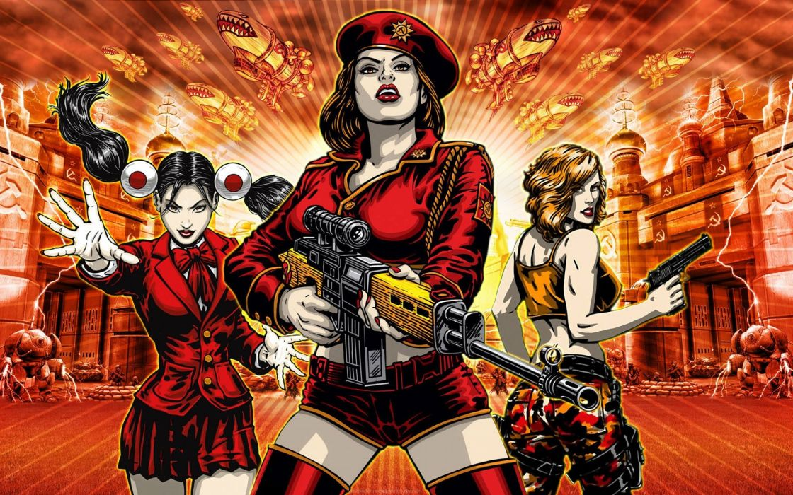 RED ALERT Command Conquer action military sci-fi futuristic strategy fighting battle combat fantasy 1redalert 1commandconquer sexy babe weapon gun wallpaper