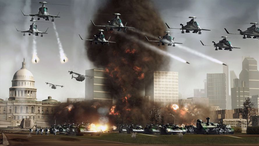 RED ALERT Command Conquer action military sci-fi futuristic strategy fighting battle combat fantasy 1redalert 1commandconquer helicopter weapon gun wallpaper