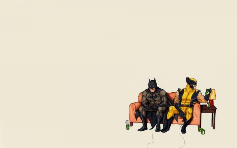 dc comics batman wolverine cartoons wallpaper