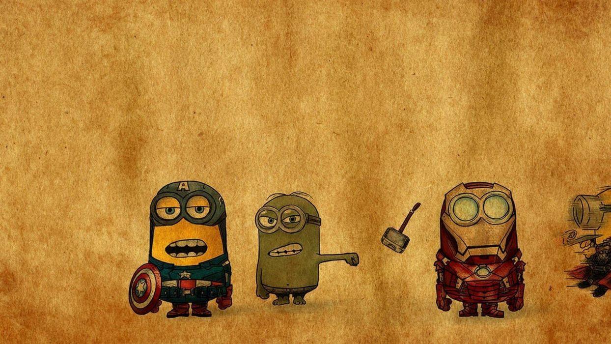 minions mini super hero hulk ironman captain america wallpaper