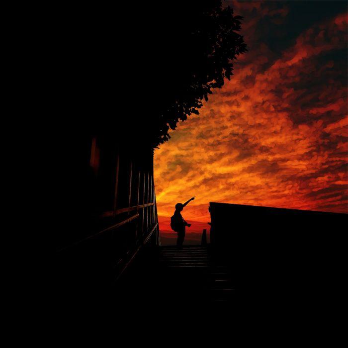 anime boy sunset sky clouds original wallpaper
