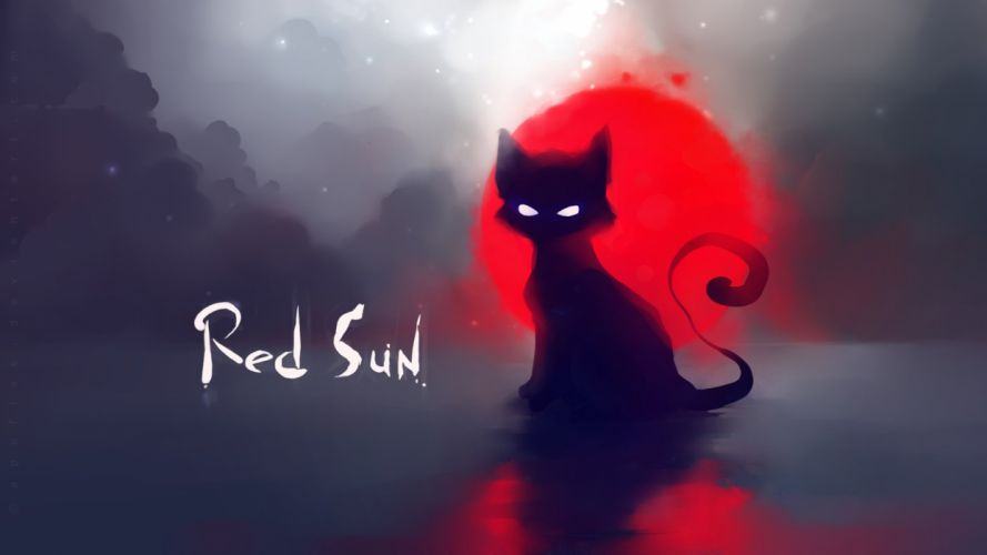 cat red sun art painting wallpaper