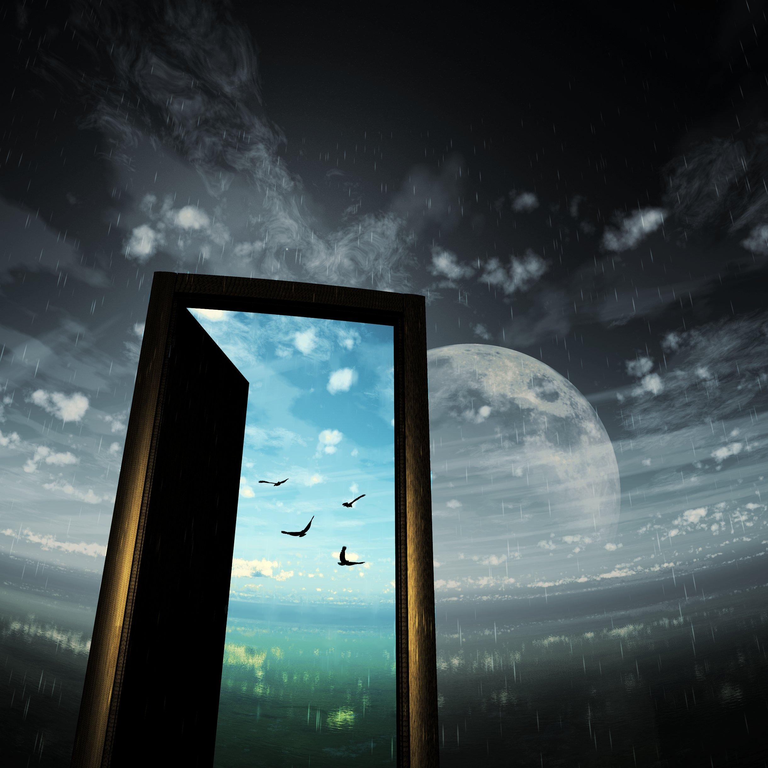 Moon Door Sky Bird Rain Wallpaper 2440x2440 575406