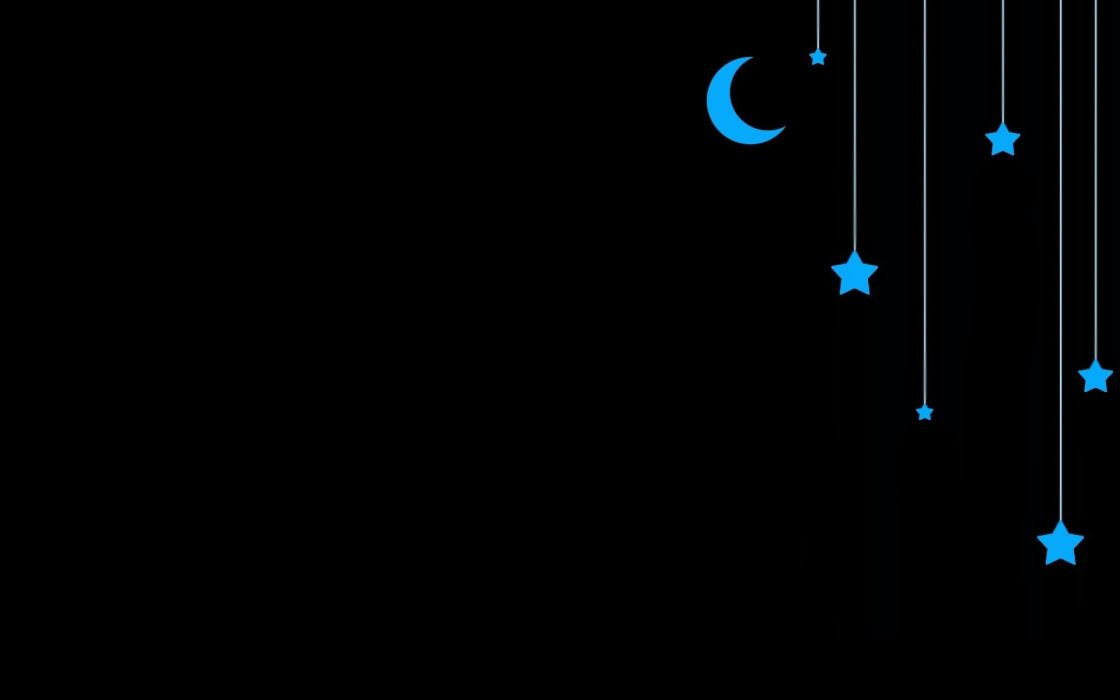 minimalistic stars moon artwork simple wallpaper