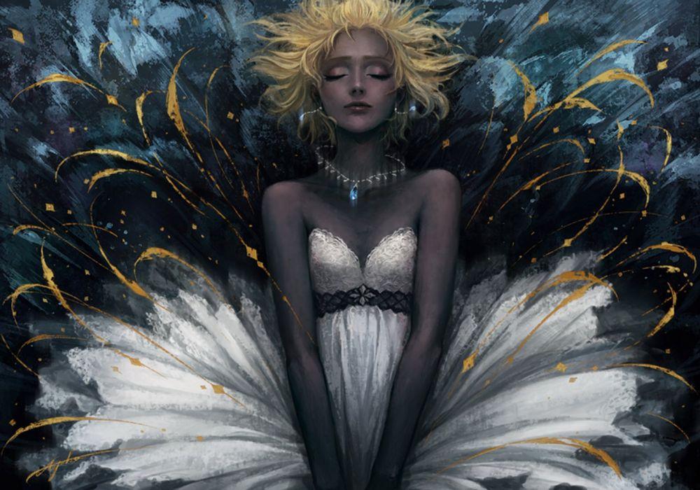 girl blonde white dress closed eyes jewelry wallpaper