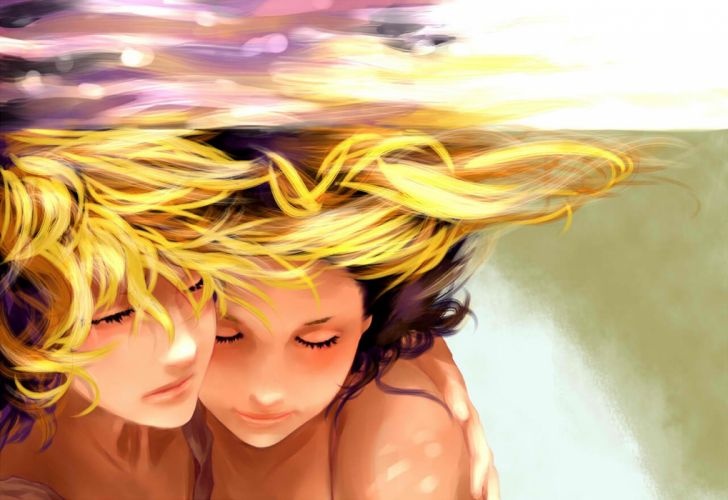 anime couple vocaloid kagamine underwater rin wallpaper