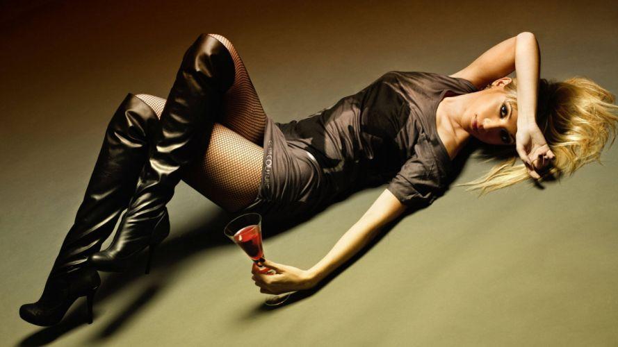 SENSUALITY - blonde drink stocking legs boot wallpaper
