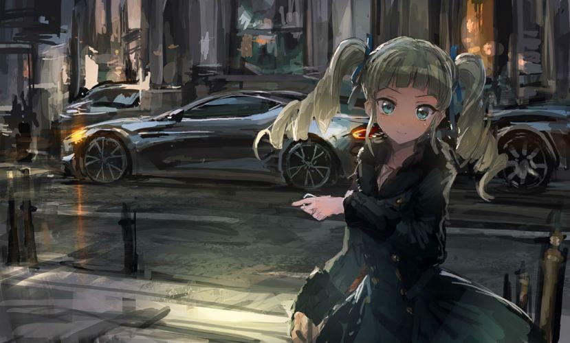 aikatsu! blue eyes car dress lm7 (op-center) long hair toudou yurika twintails wallpaper