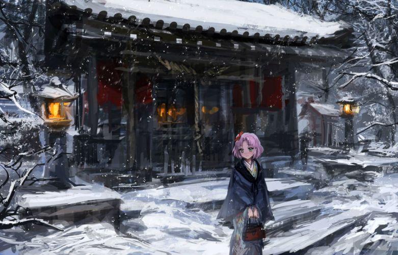 aikatsu! bow building green eyes japanese clothes kitaouji sakura lm7 (op-center) pink hair snow tree wallpaper