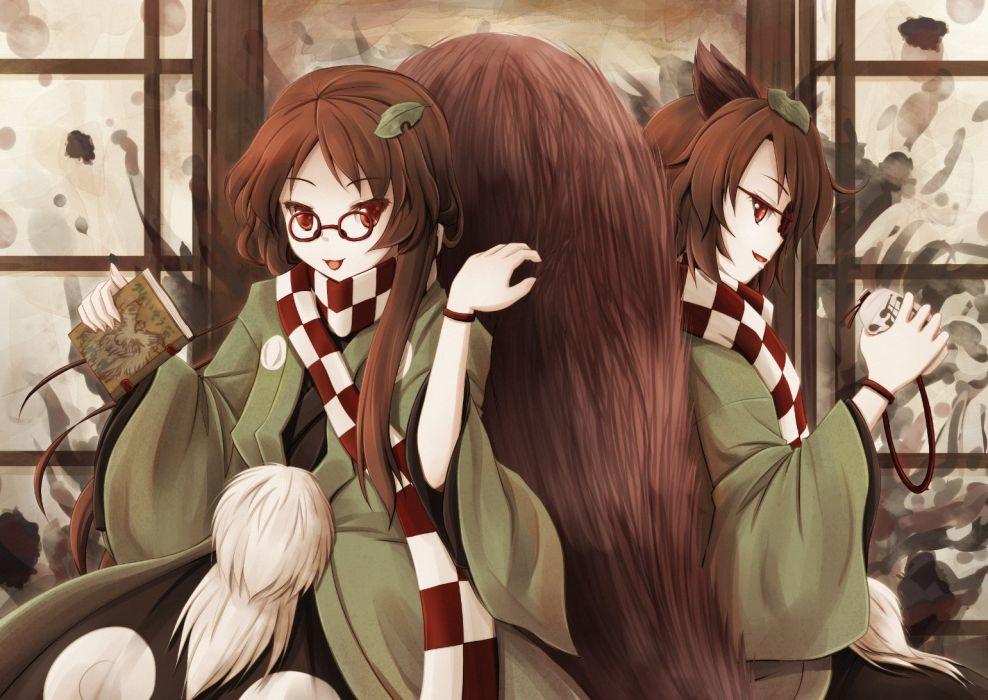 akashio animal ears book brown hair futatsuiwa mamizou glasses japanese clothes leaves long hair red eyes tail touhou wristwear wallpaper