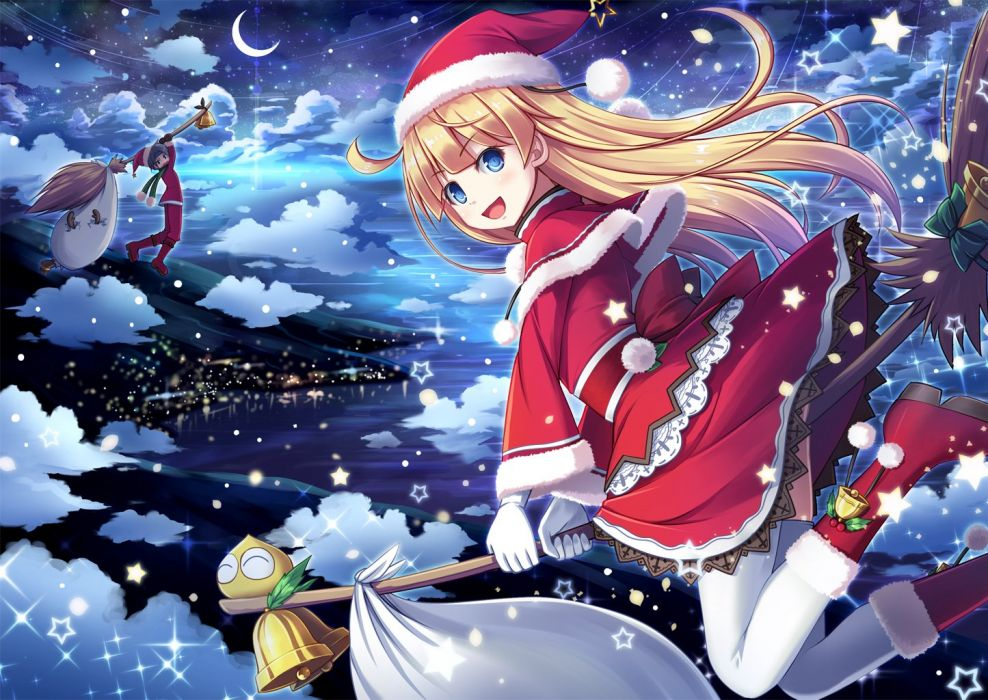 akashio bell blonde hair blue eyes boots christmas clouds gloves hat long hair moon night puyo puyo santa hat scarf sky snow stars thighhighs wallpaper