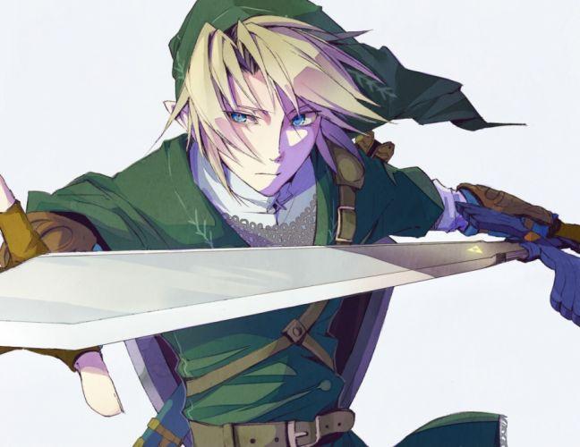 all male blonde hair blue eyes gloves hat link (zelda) male pointed ears short hair sword the legend of zelda torro weapon wallpaper