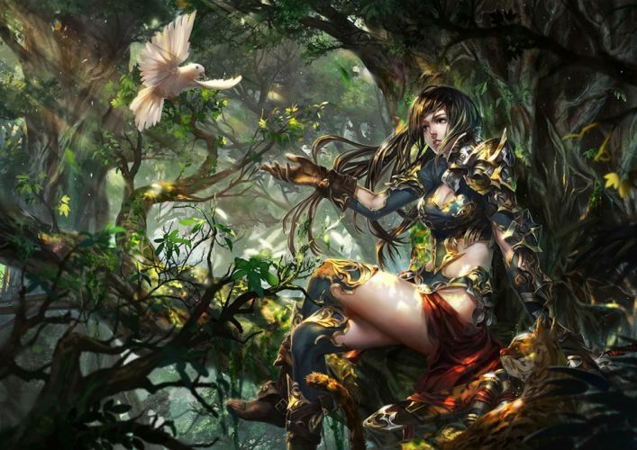 animal armor baraba baba bird black hair breasts cleavage forest gloves long hair original thighhighs tree wallpaper