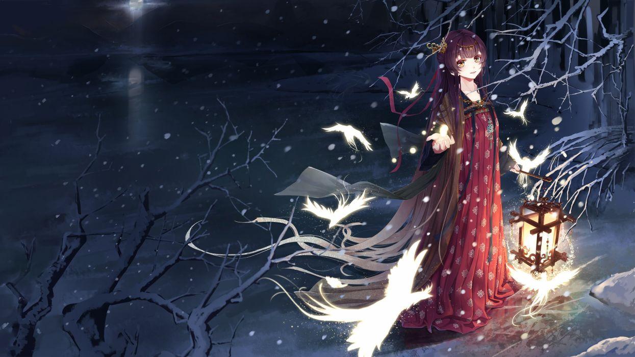 animal bird dress long hair magic night original snow tiara tree wait yellow eyes wallpaper