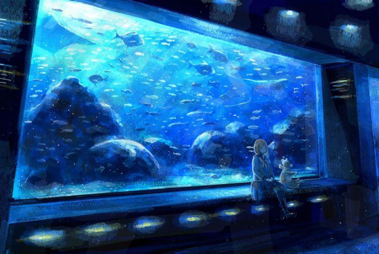 animal blue brown hair fish kneehighs nomiya (no 38) original scenic seifuku short hair skirt teddy bear wallpaper