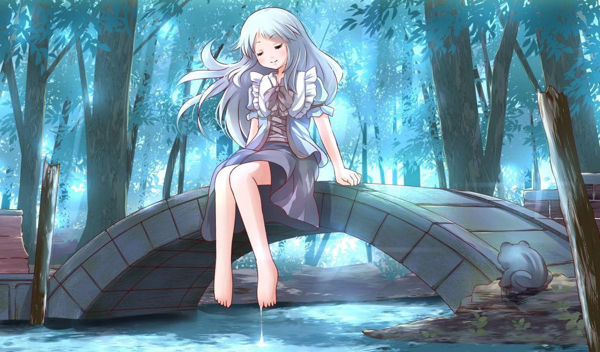 animal barefoot blue hair bow dress forest frog long hair original risutaru tree water wallpaper