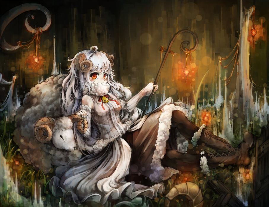 animal boots horns kajaneko long hair orange eyes original pantyhose sheep sheepgirl skirt staff white hair wallpaper