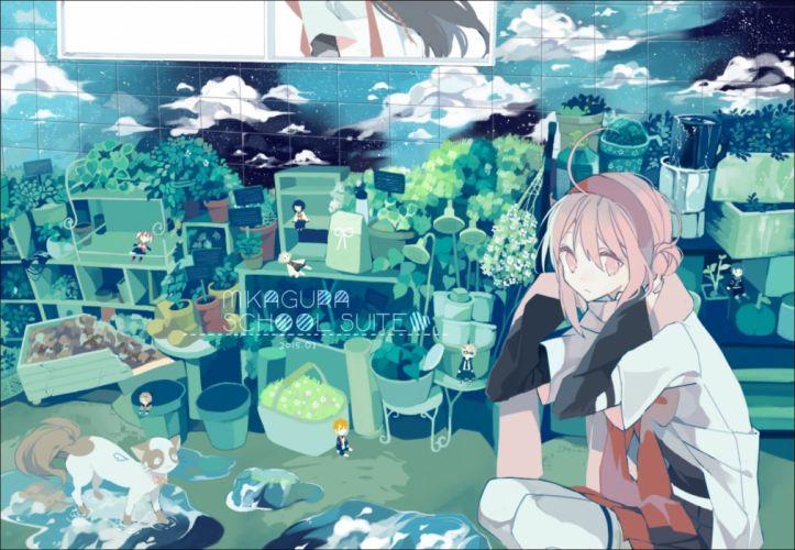animal cat clouds headband leaves mikagura gakuen kumikyoku pink eyes pink hair wallpaper