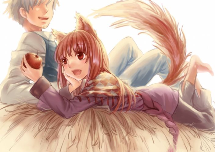 animal ears apple barefoot craft lawrence foxgirl gray hair horo red eyes red hair spice and wolf tail wallpaper