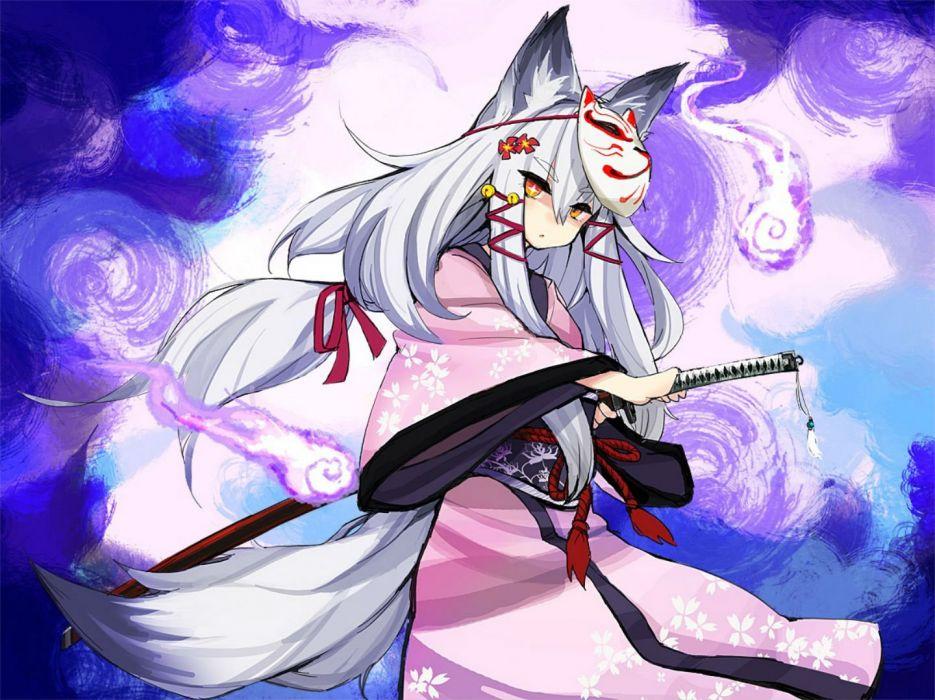 animal ears bell flowers foxgirl katana kimono long hair mask noconol original ponytail ribbons rope sword tail weapon white hair yellow eyes wallpaper
