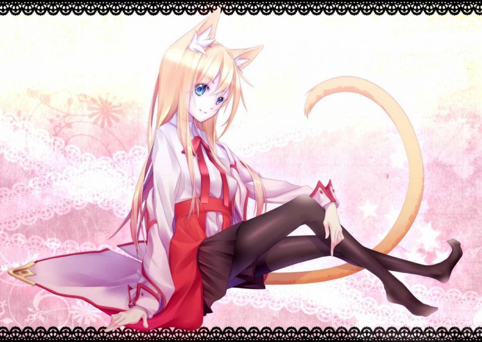 animal ears blonde hair blue eyes bow kawasaki toiro long hair original pantyhose ribbons skirt tail wallpaper