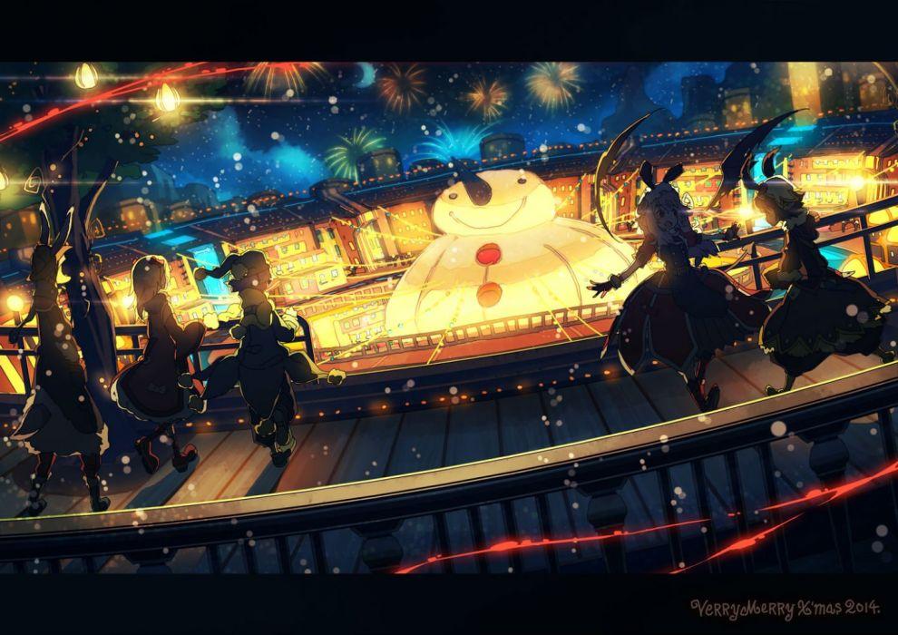 animal ears christmas dress fireworks hat narumi arata original red eyes short hair snow snowman wings wallpaper