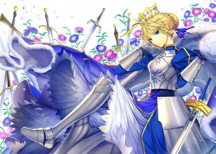 armor blonde hair cape crown dress ells fate stay night green eyes saber short hair sword weapon wallpaper