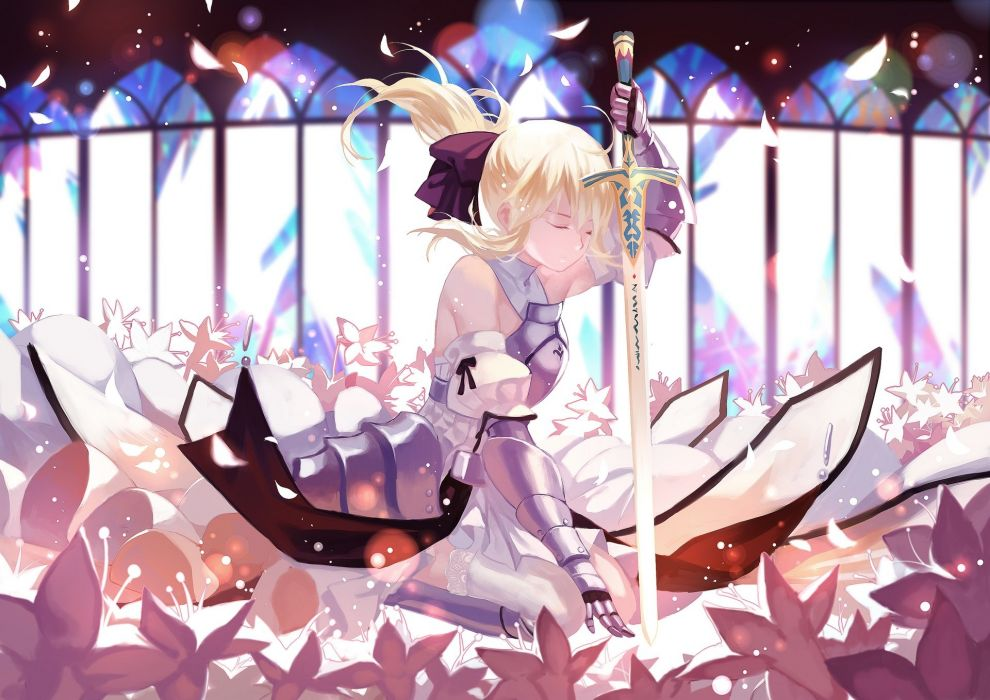 armor blonde hair fate stay night flowers joseph lee long hair petals ponytail ribbons saber lily sword weapon wallpaper